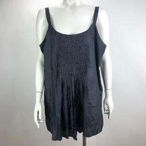 Eileen Fisher Silk Sequin Strap Dress Charcoal Lg